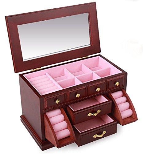 BANISH Schmuckkästchen Woody Drei Schichten Schublade Mit einem Spiegel Schmuck Aufbewahrungsbox , 4