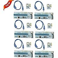 Longxi (lot de 6) PCI-E PCI 1x vers 16x carte Riser PCIe USB 3.0Express carte graphique GPU Crypto Devise Mining (PCIe 6pin + Molex 4broches + SATA 15broches d'alimentation d' 3sortes d'interface d'alimentation