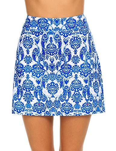 MAXMODA Jupe de Golf Jupe de Sport Skirt Femme Noir Bleu