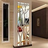 JWQT Albero fortunato albero della fortuna moderno semplice cristallo europeo adesivo da parete solido specchio Adesivo acrilico parete di fondo, argento. 120 x 40 cm, grande