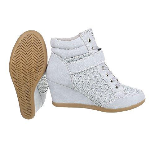 Sneakers casual grigie con stringhe per donna hyvBZ76x