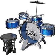 Junior Musical Jazz Drum Set Rock Kids Percussion Instrument Kit - Blue Color