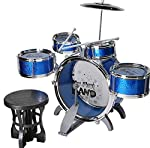Junior Musical Jazz Drum Set Rock Kids Percussion Instrument Kit - Blue Color