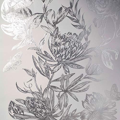 Crown Luxe Mayfair Kew Floral Tapete Silber M1473