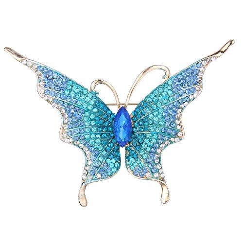 EVER FAITH® Cristal Autrichien Papillon Insecte Broche Pin 4.3 Inch Chouette Jolie Bleu, Doré
