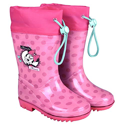 PERLETTI Disney Minnie Rain Boots Kids - Girls Waterproof Wellies Shoes with Anti Slip Outsole - Pink with Fuchsia Details and Polka Dots - Minnie Mouse Print
