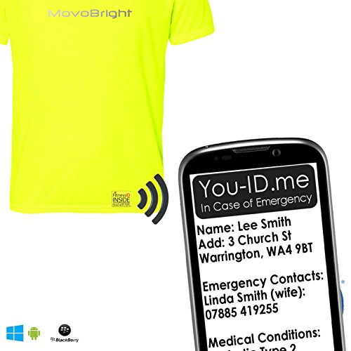 Mens Solo Run T-Shirt Sport Safety. Wearable Tech Carry Emergency Identity Contact Details Electronically Embedded. Hi Viz Reflective Yellow Top. Works with Smartphone Cycling Walk Breathable