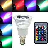 Jinda E14 3W Color Changing RGB LED light Bulbs for Christmas New Year Party, 270 Lumens LED Spotlight for Stage with Remote Control