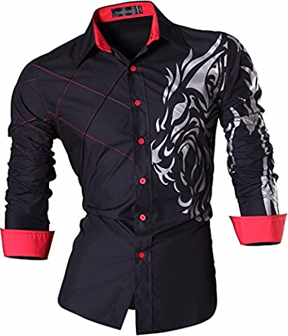 jeansian Homme Chemises Casual Shirt Tops Mode Men Slim Fit 2028 (US XXL, Z030_Black)