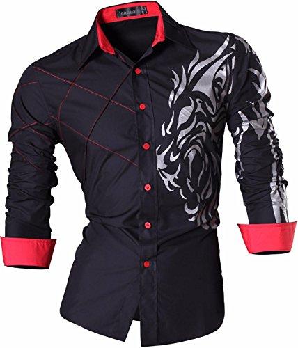 Jeansian uomo camicie maniche lunghe moda men shirts slim fit causal long sleves fashion 2028, black, us l