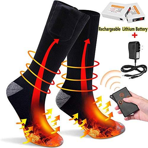 Calze riscaldate per uomo donna con telecomando calzini riscaldati scaldapiedi batteria ricaricabile calze termiche 3 temperature regolabili per l'escursionismo campeggio passeggiate sport sci moto