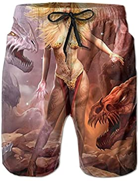 Fantasy Dragon Pattern Men's/Boys Casual Quick-Drying Bath Suits Elastic Waist Beach Pants with Pockets