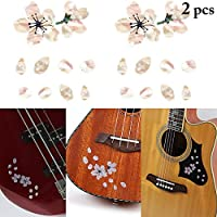 JUSTDOLIFE JUSTDOLIFE 2 Sheets Guitar Sticker Sakura DIY Decorative Ukulele Sticker for Ukulele Bass