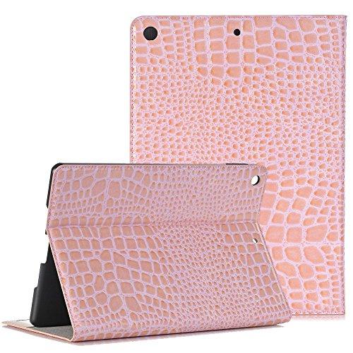 Apple 2017 New iPad Case, elecfan ® Ultra Dünnen Leichtgewicht Book Stil Flip PU Leder Hülle Tasche Wasserdicht Case Smart Cover mit Standfunktion / Kartenfächer / Auto Schlaf Wach Funktion Anti Kratz Rosa