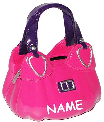 große Spardose - ' Handtasche - Tasche / Shopper in PINK ' - stabile Sparbüchse aus Kunstharz - Sparschwein - lustig witzig - Shopping &...