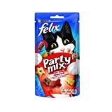 FELIX Party Mix Saveur Grillade : Boeuf, Poulet, Saumon - 60 g - Friandises pour chat - Lot de 8