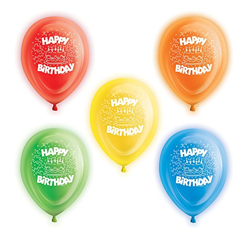 Unique Party Supplies 25,4 cm Latex Happy Birthday LED leuchtet Luftballons, Sortiert 5 Stück