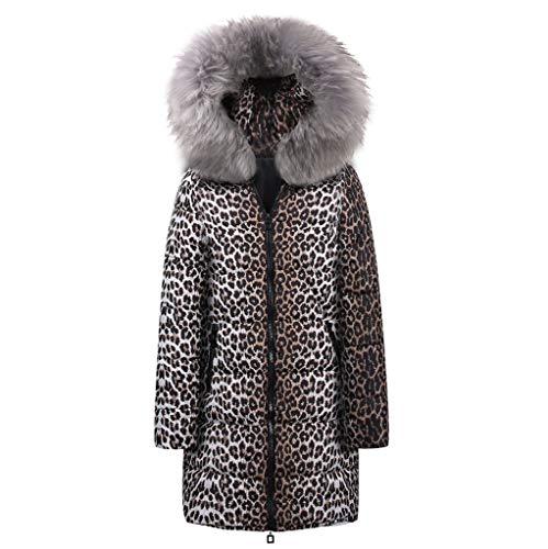 GreatestPAK Damen Mäntel Mittellang Leopardenmuster Baumwolle Daunenbaumwolle Mantel Winter Cotton Leopard Druck Parka Kapuzenmantel Jacke Outwear