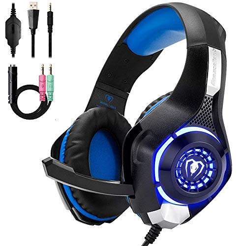 Mengen88 Gaming Headset für PS4, Komfort-Rauschunterdrückung Kristallklare 3,5-mm-LED-Over-Ear-Kopfhörer mit Noise Cancelling-Mikrofon, für Xbox One PC, Laptop, Mac (Decke Mikrofon Boom)
