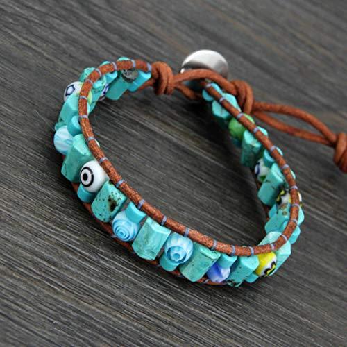 UPPPP Einzigartige Naturstein Glas Evil Eye Perlen Wickelarmbänder Großhandel Mode Lederarmband Paare Armbänder -