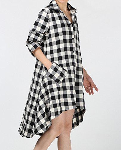 Matchlife Damen Karierte Blusenkleider Asymmetrische T-Shirt Kleid White
