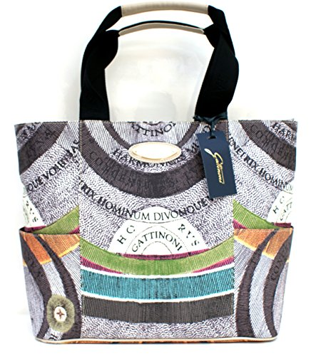 Gattinoni Borsa Donna Shopper Leather Zip Cm 34x30x14 Beige / Multicolor