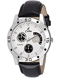 Cubia Exclusive Black Leather Analog Watch For Mens & Boys