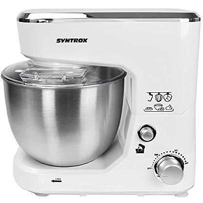 Syntrox-Germany-KM-1000W-Kchenmaschine-Knetmaschine-Mixer-Edelstahl-Behlter-5-Liter-creme