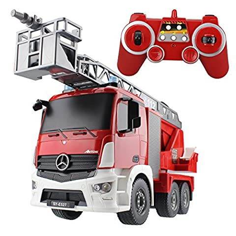 Hugine RC Fire Turck Authorized by Mercedes-Benz Antos 2.4G 9 Channel Kids Remote Control Aerial Ladder Fire Engine Truck with LED Lights and Sounds Toys