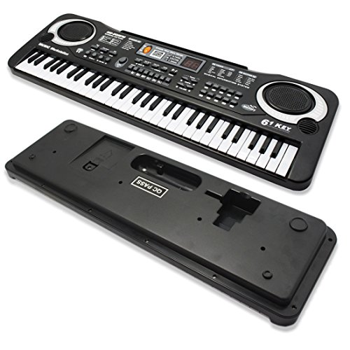 JJOnlineStore - FLASH SALES - Small Compact 61 Keys Music Electronic Keyboard Key Board Kids Gift Electric Piano Organ for Beginners with Microphone Mic