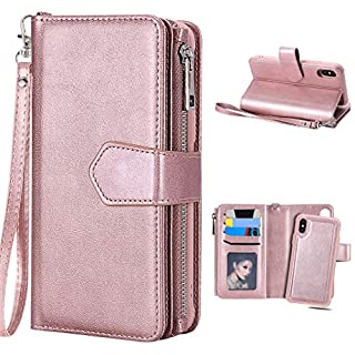 Amcor Love Case iPhone Xs, iPhone X Leather Book Case with Internal TPU, 2 in 1 Detachable Wallet Style, Magnetic Closure, Card Slots for 5.8 Inch Apple iPhone X/XS Rose Gold