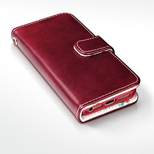 Coque Cuir iPhone SE, Terrapin Étui Housse en Cuir pour iPhone SE Cover - Rouge (Fleur à l'intérieur) Rouge (Fleur à l'intérieur)