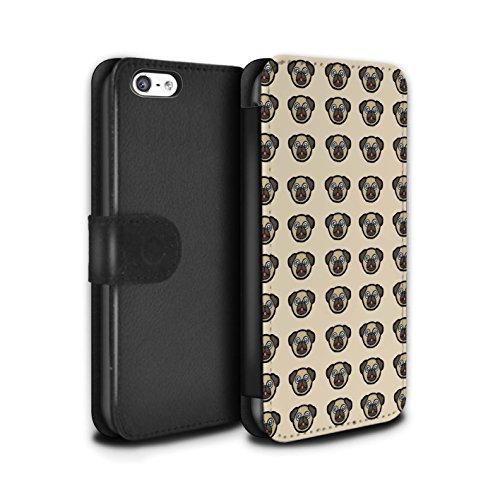 Stuff4® PU-Leder Hülle/Case/Tasche/Cover für Apple iPhone 5C / Welpe/Haustiere Muster/Karikatur Mops Kollektion (Fall Iphone Welpe 5c)