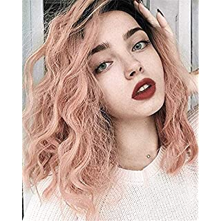 VEBONNY Ombre Pink Wigs for Women Synthetic Hair Short Wig with Brown Roots Pink Hair Synthetic Lace Front Wig 16 inch VEBONNY-011