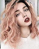 Vébonnie Pink Wob Hair (Wellenförmige Bob-Perücke) Rose Pink Perücken Für Frauen Kunsthaar Brown Ombre Baby Rosa Lace Front Perücken Mode Perücken Für Das Tägliche Tragen