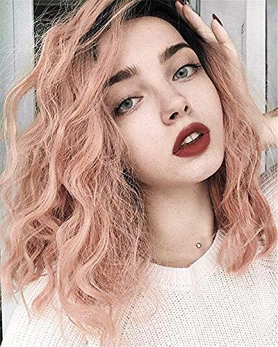 Vébonnie Pink Wob Hair (Wellenförmige Bob-Perücke) Rose Pink Perücken Für Frauen Kunsthaar Brown Ombre Baby Rosa Lace Front Perücken Mode Perücken Für Das Tägliche Tragen England Rosa Rose