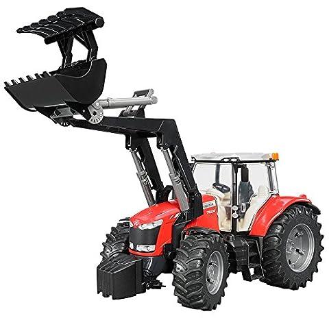 BRUDER - 03047 - Tracteur MASSEY FERGUSON 7600 rouge avec fourche