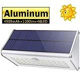 CAIYUE Lampada solare Applique per esterni- IP65 Impermeabile 4500mAh 46 LED Sensore di movimento in lega di alluminio Adatto per, cortile, giardino, portico, recinto (Luce bianca)
