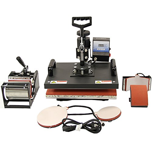 Monster PixMax Multifunktions 5-in-1 Schwingpresse Hitzepresse Transferpresse Sublimationsdruck Wärmepresse T-Shirtpresse Tassenpresse Tellerpresse Mützenpresse mit KOSTENLOSEN Sublimationspapier