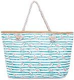 Faera Strandtasche gestreift mit Melonen-Muster XXL Shopper Beach Bag mit breiter Kordel Schultertasche, Taschen Farbe:Türkis