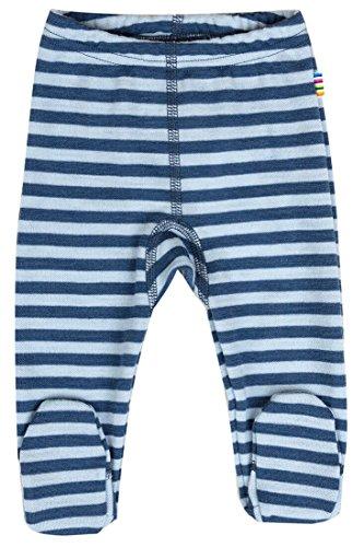 JOHA Baby Jungen Hose mit Fuss Strampelhose DOUBLE STRIPE aus Merinowolle in blau Größe 50 (0-1 Monat)