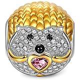 NINAQUEEN Erizo Abalorio de mujer de plata de ley Charms beads compatible con pulsera de pandora joyería regalos para cumpleaños Aniversario Boda novia esposa madre hija damas niñas su