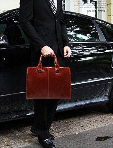 Xinmaoyuan uomini borsette Pu multifunzione Business Borsa a tracolla Borsa uomo borsetta,Nero Brown