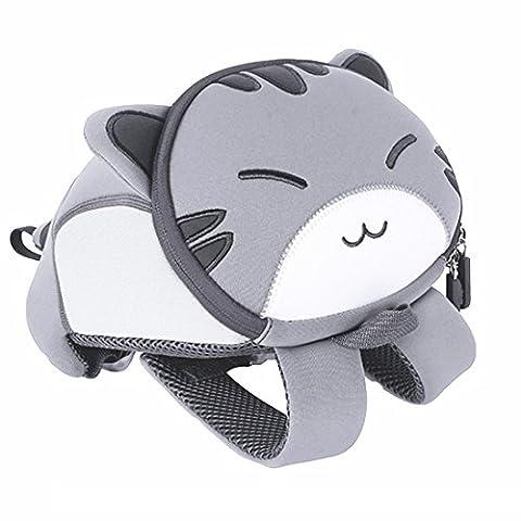 Yisibo Sac à dos pour enfants Sacs à dos de la maternelle Sac à dos pour animaux mignons Cartoon 3D (Chat-Gris)