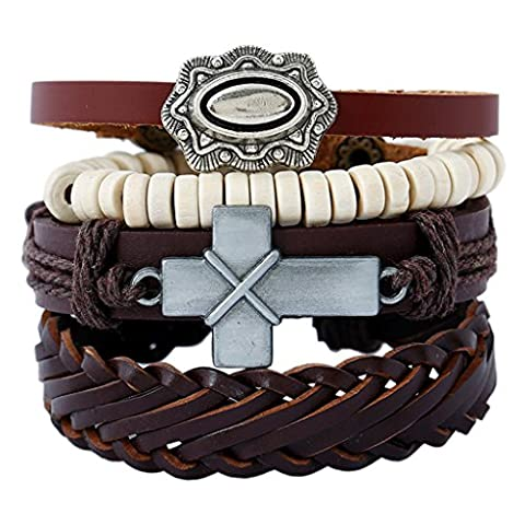 Men Leather Weave Bracelet with Prayer Cross