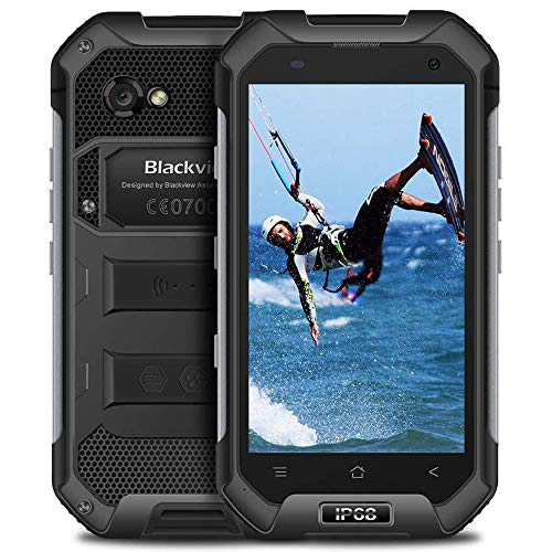 "Blackview BV6000s - Movil Antigolpes (4.7"" HD, Memoria de 2GB + 16GB, Cámara de 8.0 MP, Smartphone Android 7.0, IP68 Impermeable, Batería 4500 mAh, Telefono Resistente, Dual SIM, WiFi, NFC) Negro"