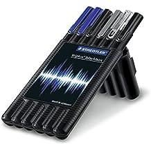 Staedtler 34 SB6B - Paquete de bolígrafos con soporte trasero (varios modelos, con tinta de recambio, 0,5 mm), color azul y negro