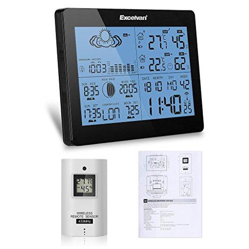 EXCELVAN Funkwetterstation mit Außensensor Hygrometer Barometer Thermometer Wetterprognose Dual Alarm