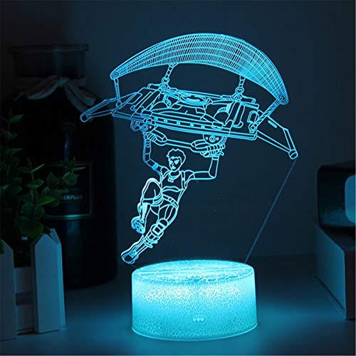Llama Lámpara 3D LED Luz del sueño del bebé Hoja acrílica USB o pilas AA Espejismo Luz de noche hogareña Interruptor táctil ajustable de 7 colores Regalo de los niños cumpleaños festival
