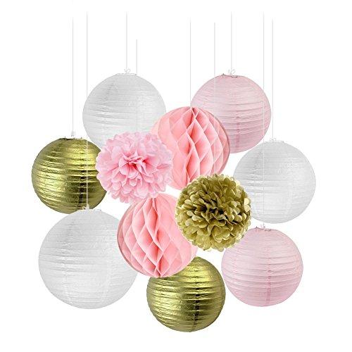 old Rosa Weiß Tissue Papier Honeycomb Wabenball Pom Poms Party Feier Geburtstag Hochzeit Dekoration ()